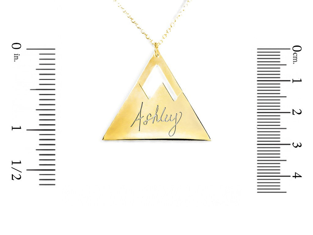 24k gold plated sterling silver mountain name necklace measurement
