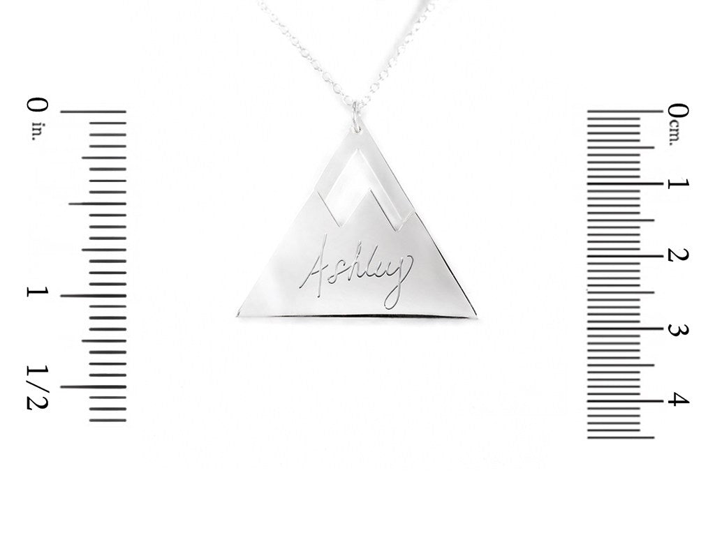 sterling silver mountain name necklace measurement