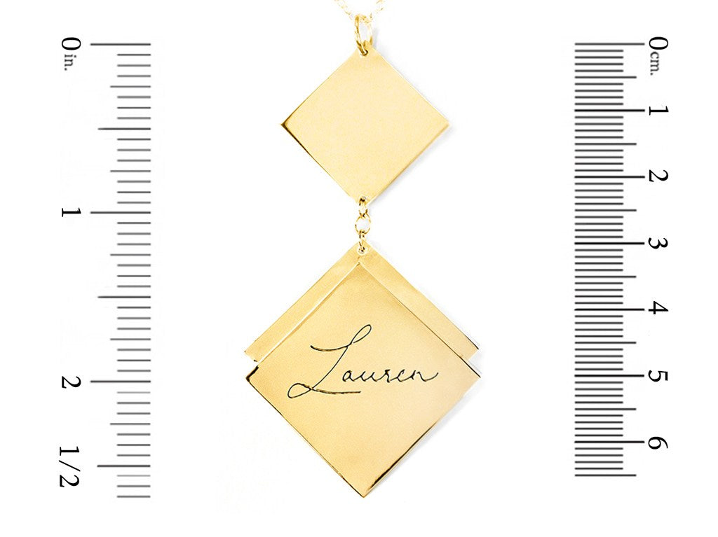 14K gold plated sterling silver name necklace measurement