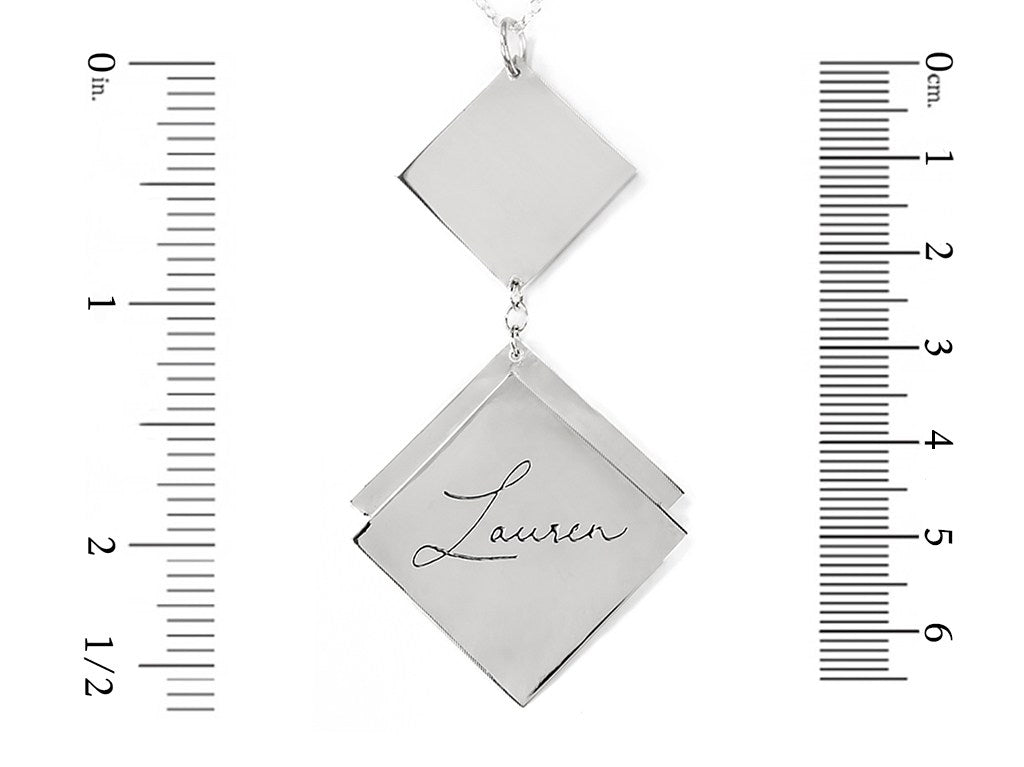 sterling silver name necklace measurement