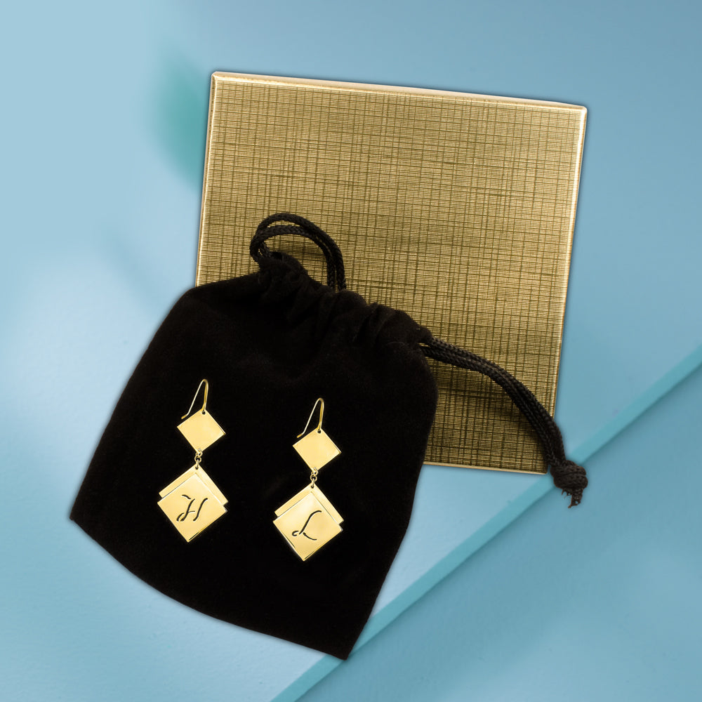 HanaLaura Collection: Engraved Diamond-Shaped Initial Earrings