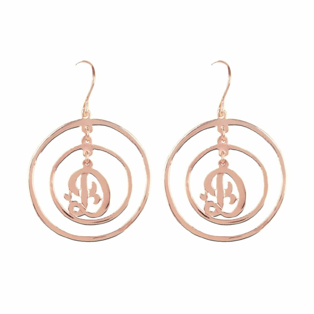 14K rose gold plated sterling silver personalized initial earrings