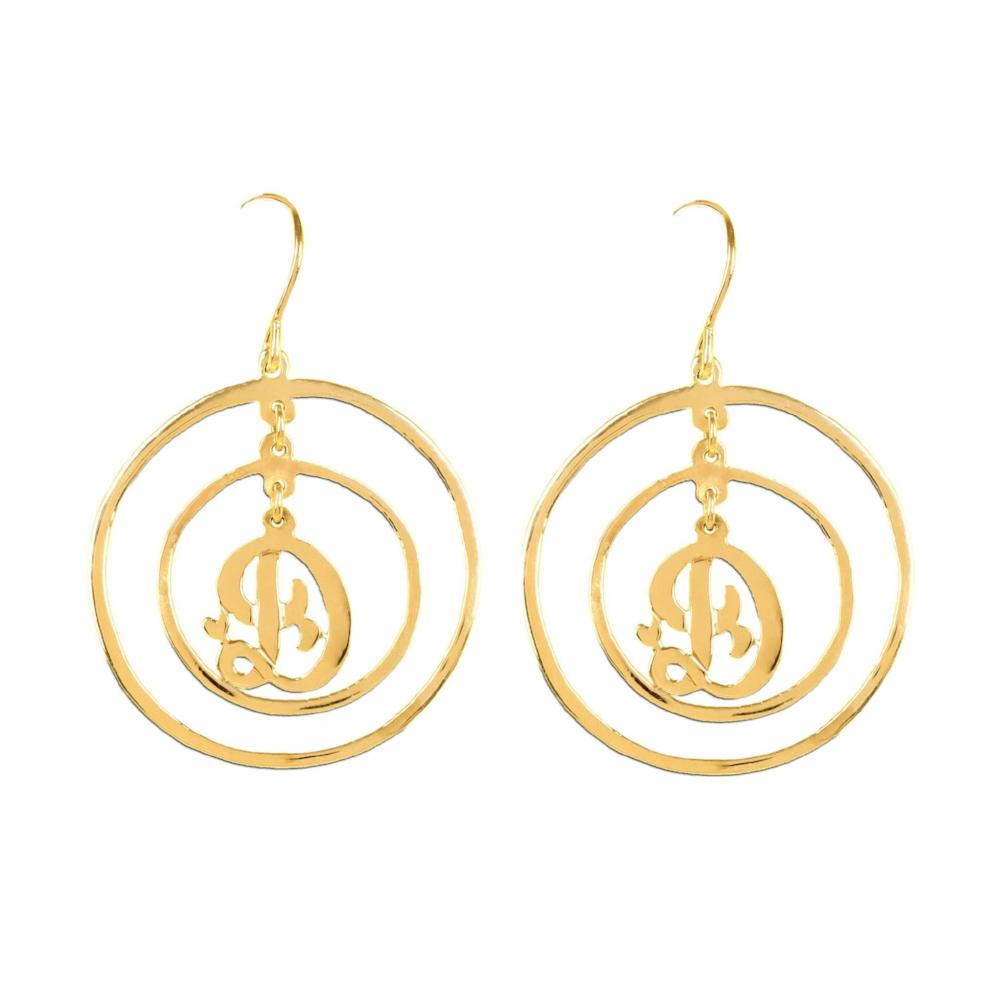 14K gold plated sterling silver personalized initial earrings
