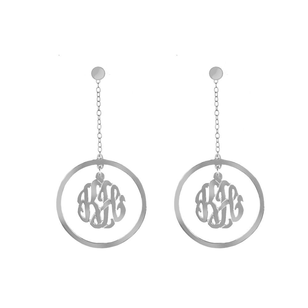 silver monogram drop earring-pair