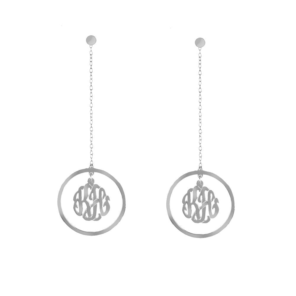 silver monogram drop earring with long chain-pair