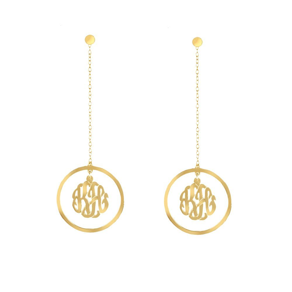 14K gold-plated silver monogram drop earring with long chain