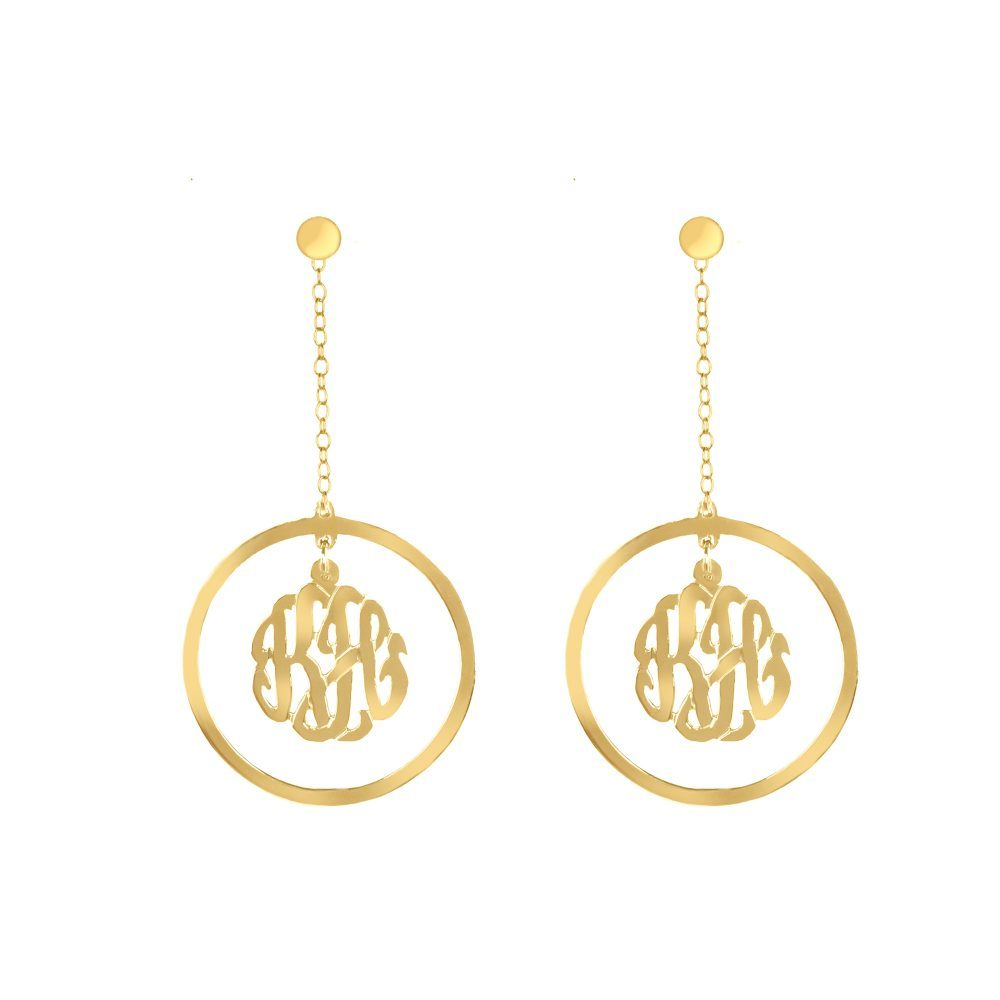 14K gold-plated silver drop monogram earring