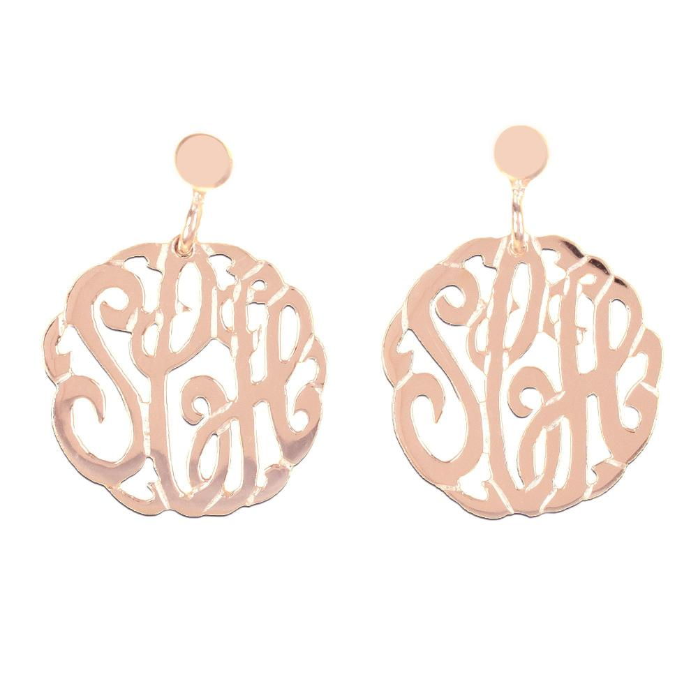 14K rose_gold plated sterling silver-round-crafted-monogram-earrings