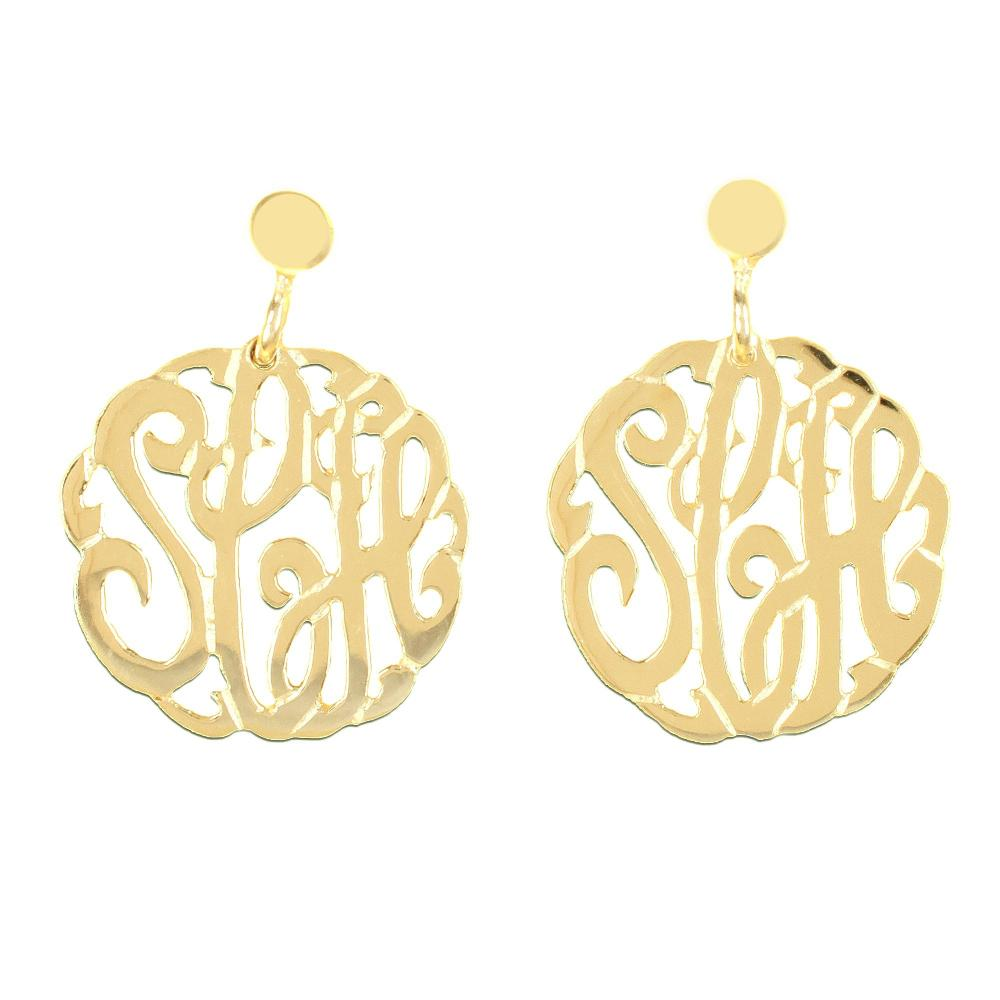24k gold plated sterling silver-round-crafted-monogram-earrings