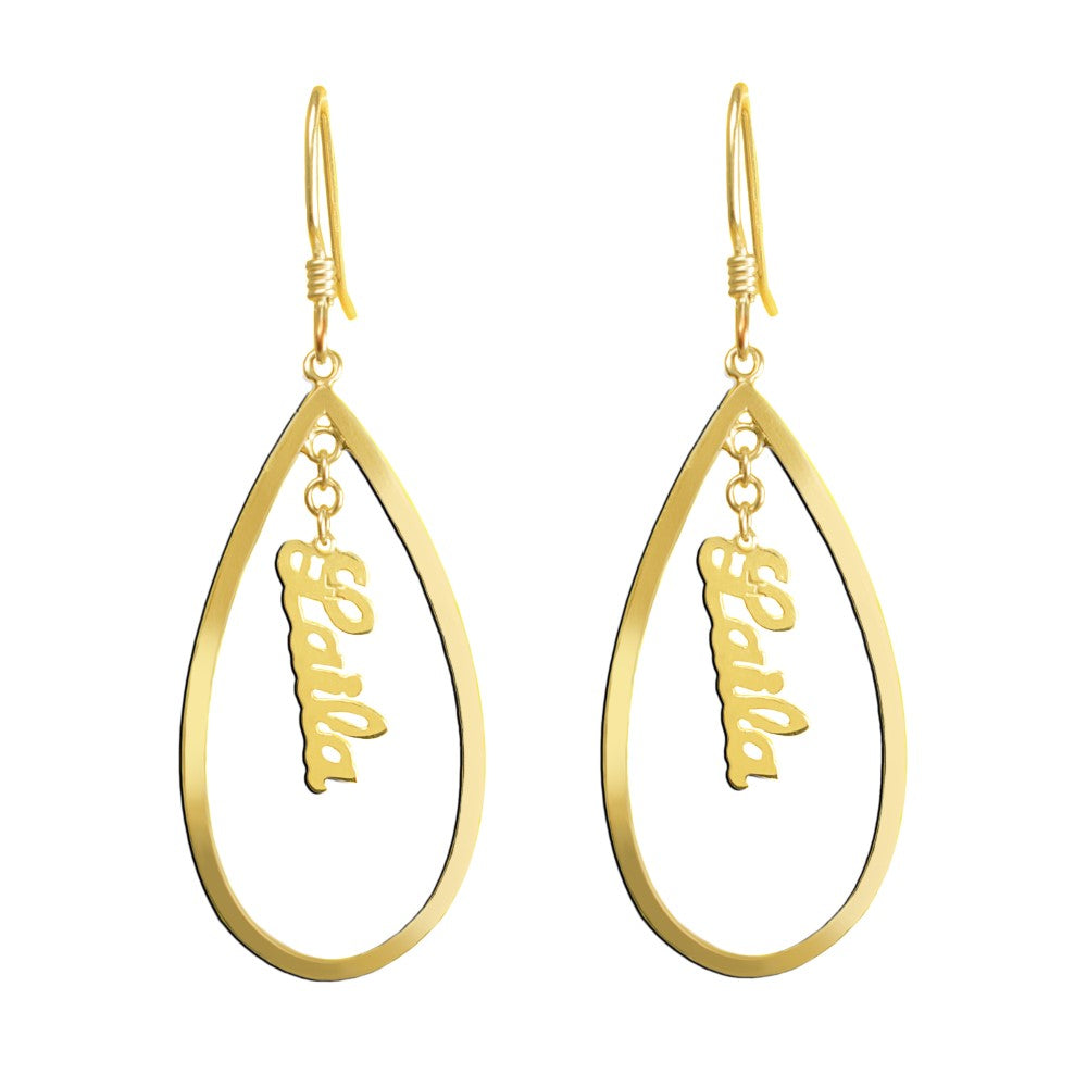 14K gold plated sterling silver personalized name earrings