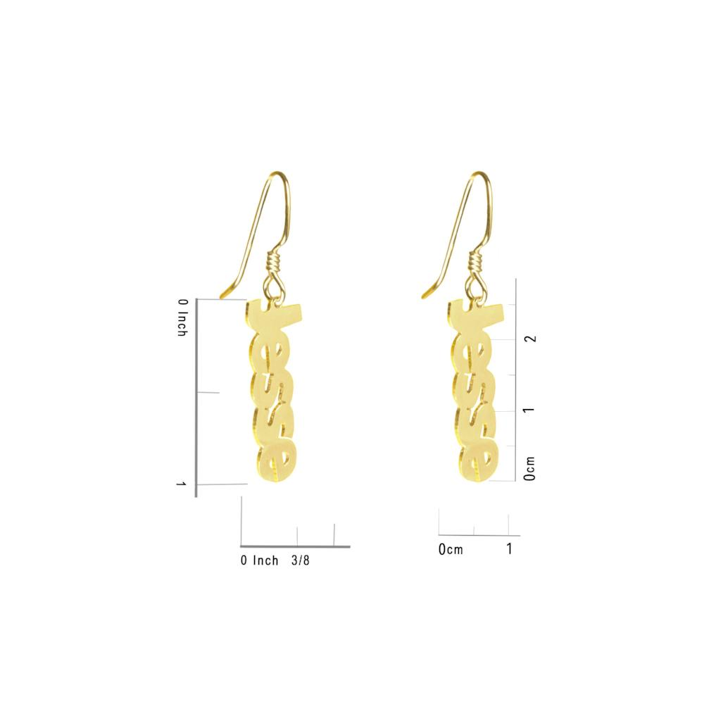 14K gold plated sterling silver-block-name-open-drop-earring