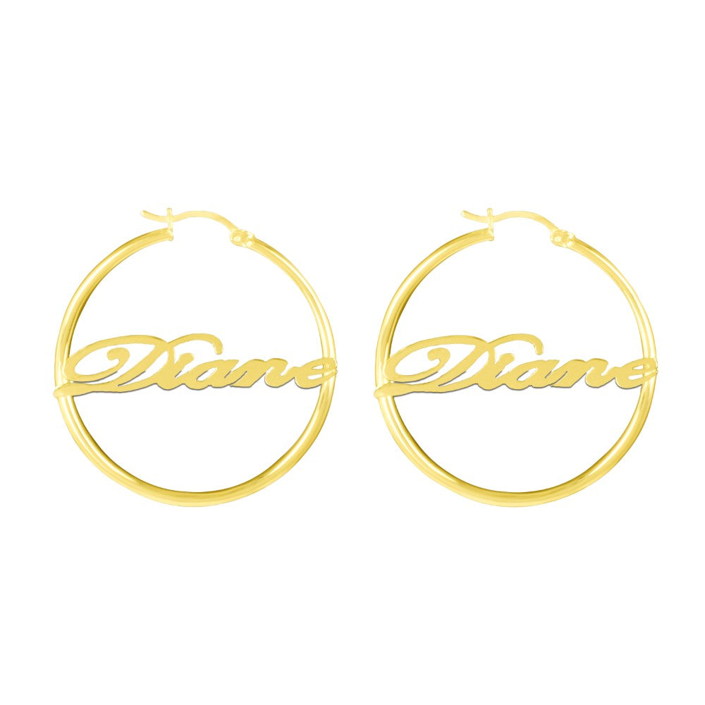 14K gold plated sterling silver bamboo name earrings hoops