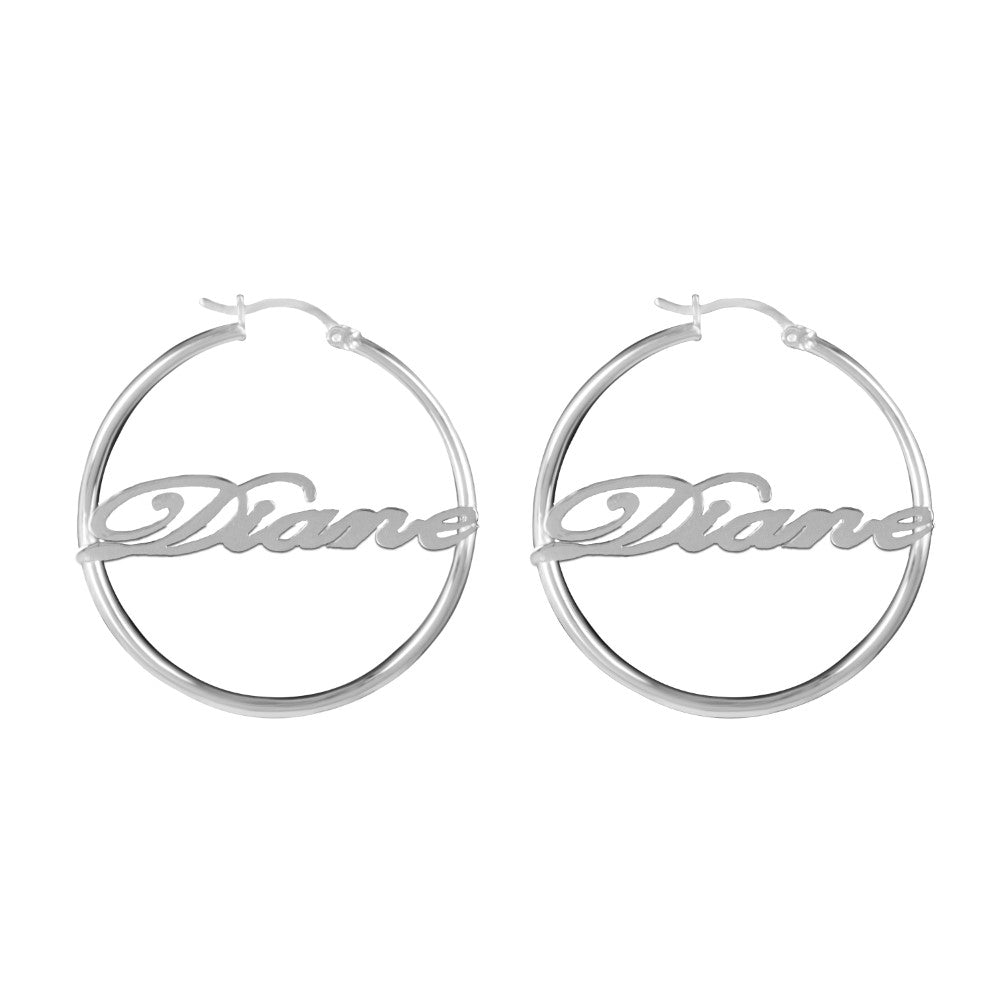 sterling silver bamboo name earrings hoops