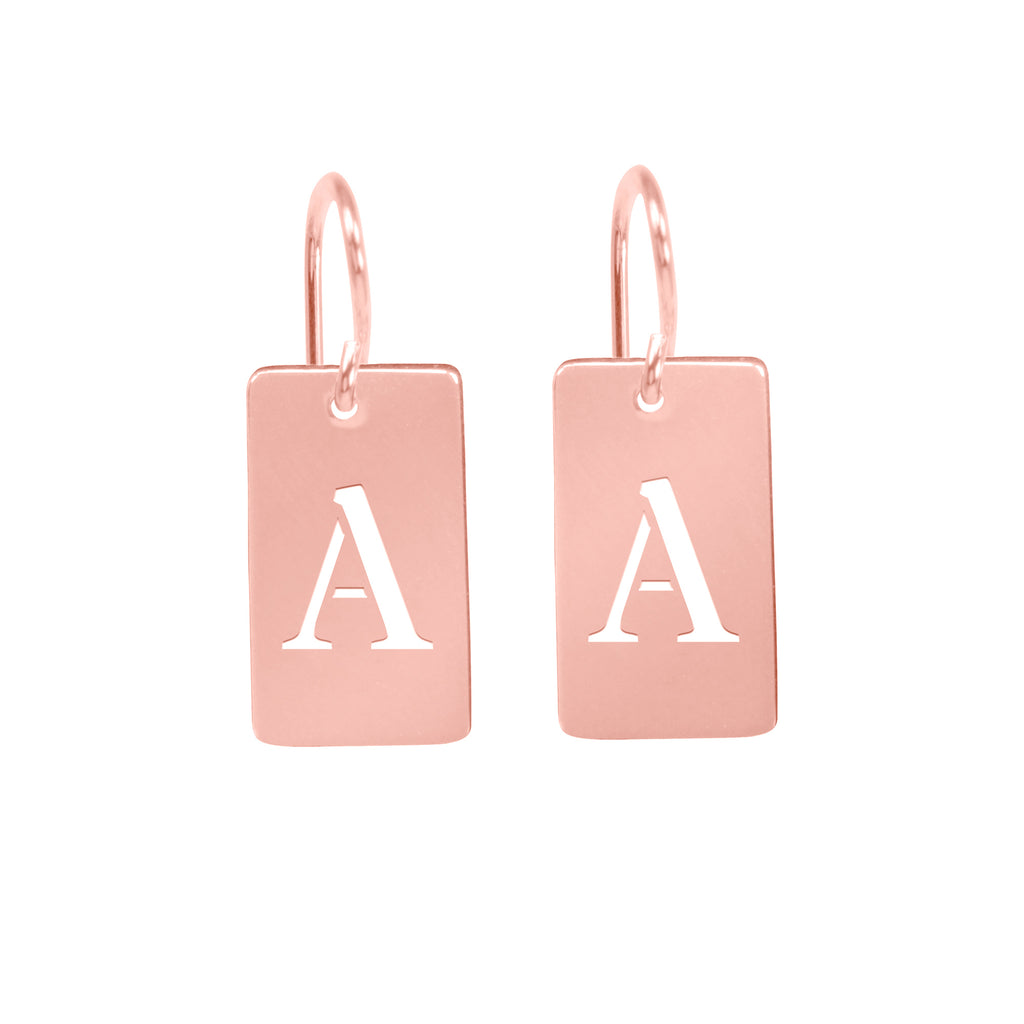 Rectangle Tab Initial Earring