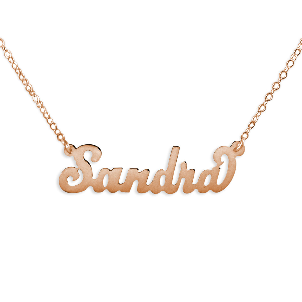 24k rose gold plated sterling silver carrie name necklace