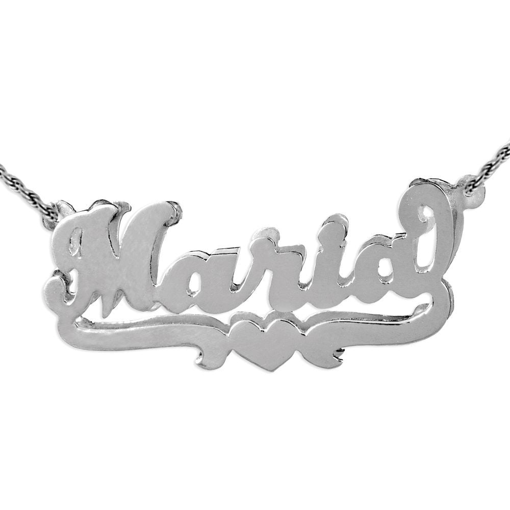 double layered silver name necklace with a heart