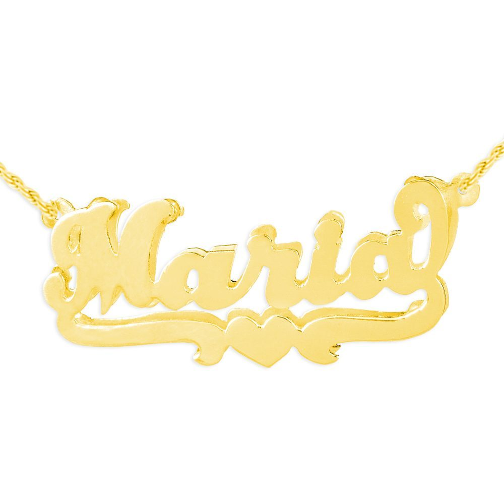 double layered gold-plated silver nameplate necklace with a heart