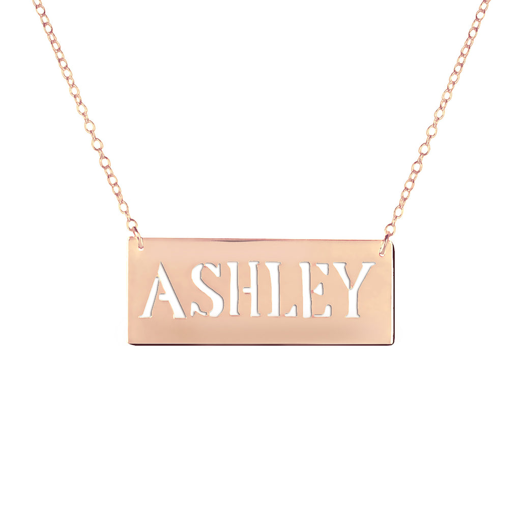 24k rose gold plated sterling silver bar nameplate necklace