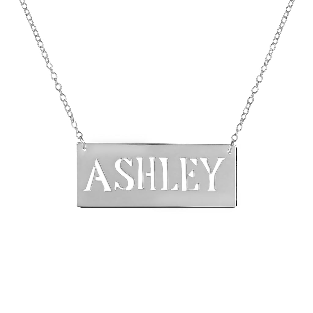 0.925 sterling silver bar nameplate necklace