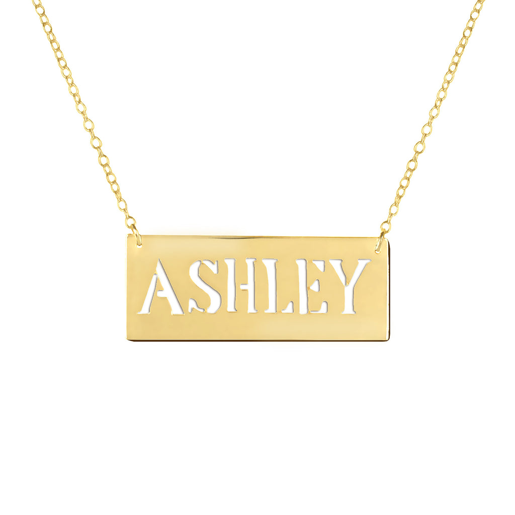 14K gold plated sterling silver bar nameplate necklace