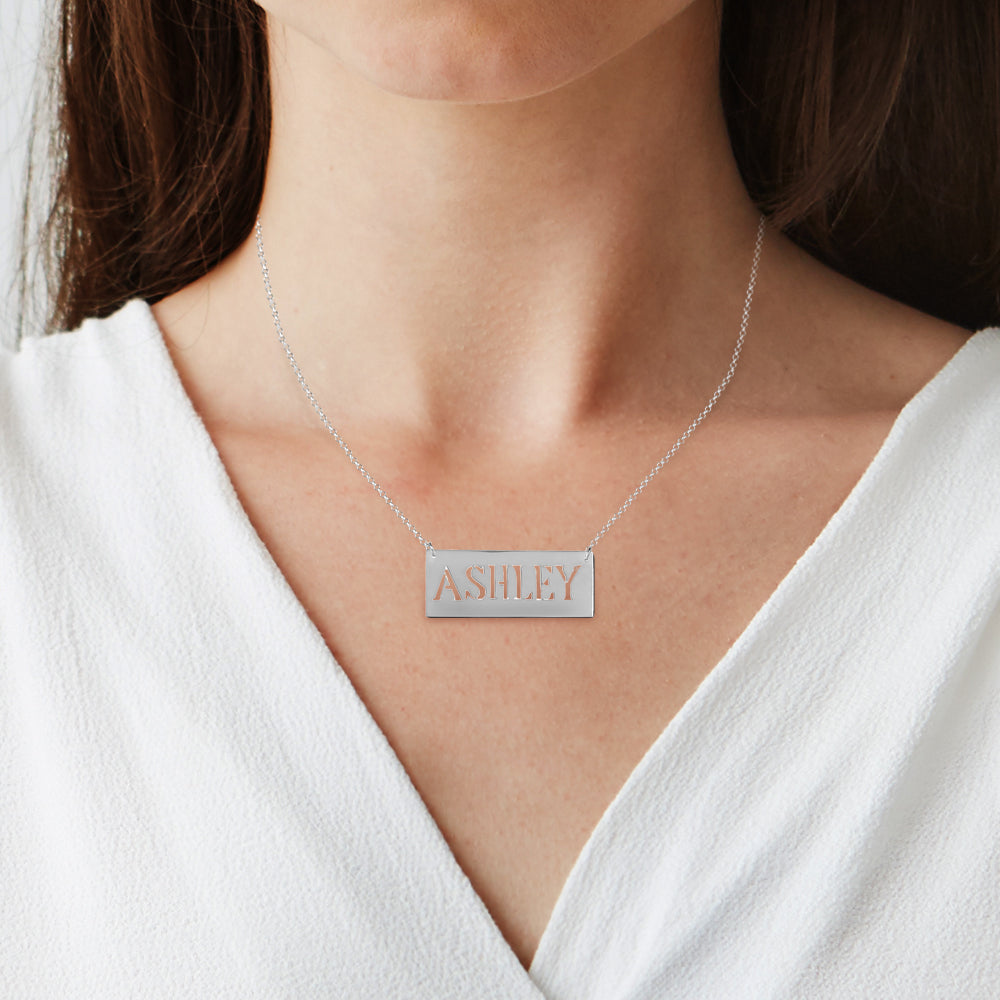 Personalized Tall Letter Bar Nameplate Necklace