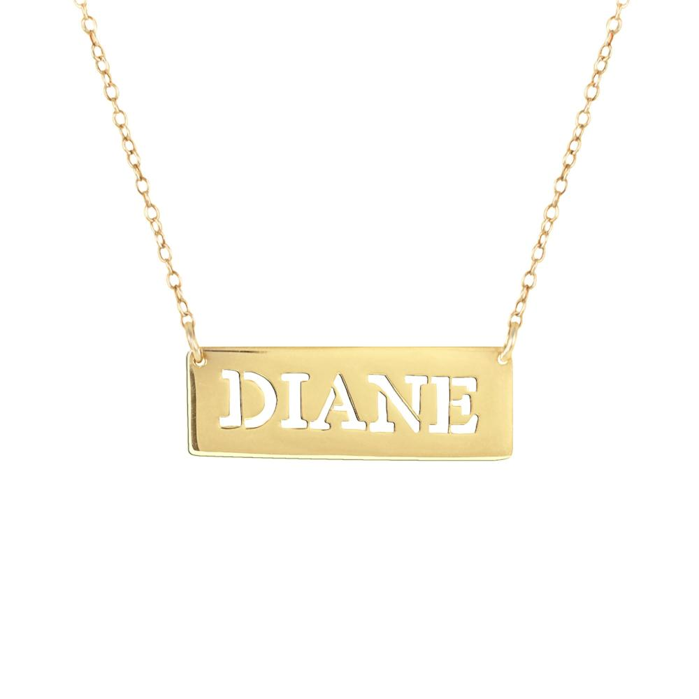 14K gold plated sterling silver bar nameplate name necklace