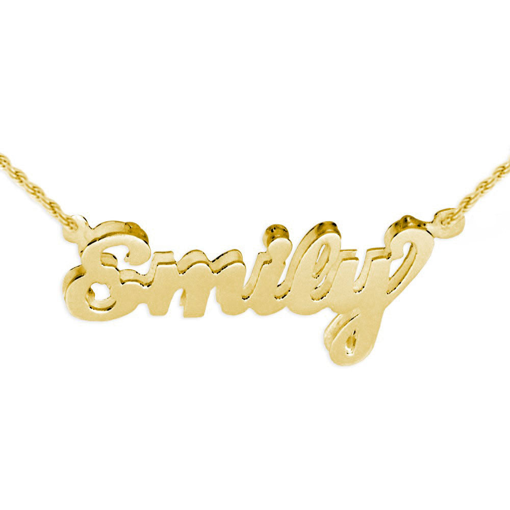 14K gold plated sterling silver 3d name necklace