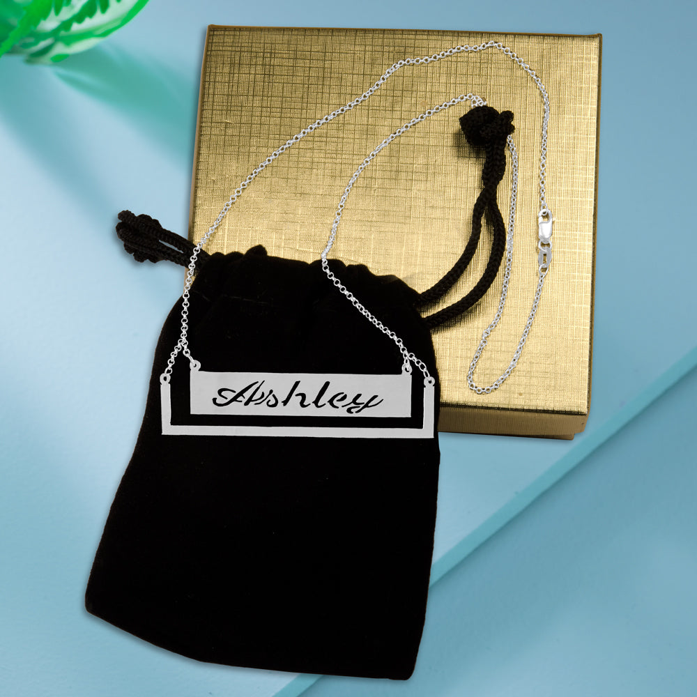 Pocket Frame Bar Name Necklace