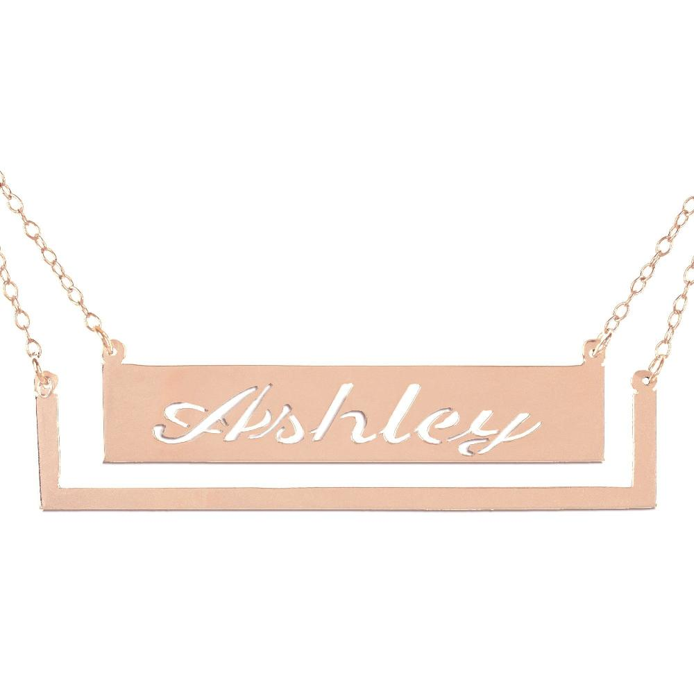14K rose_gold plated sterling silver-frame-bar-nameplate-necklace