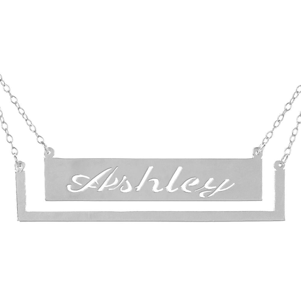 sterling silver frame bar nameplate necklace