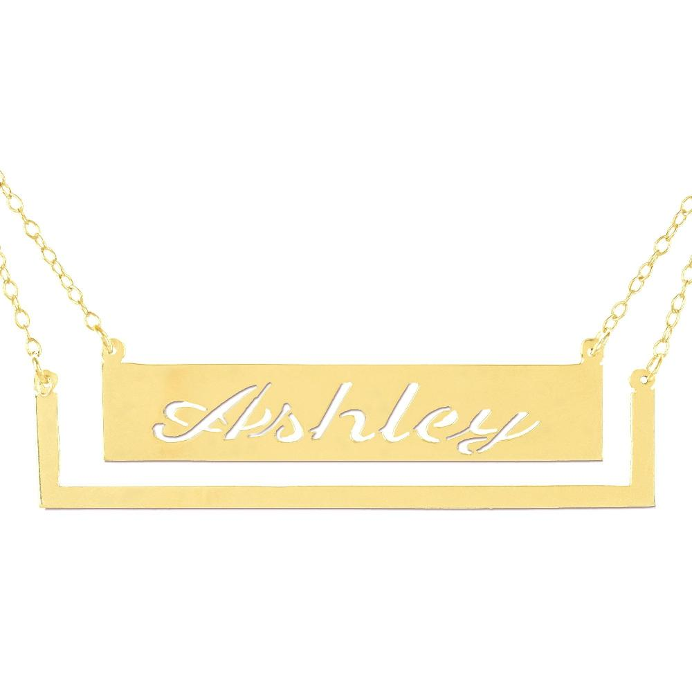 14K gold plated sterling silver-pocket-frame-bar-nameplate-necklace