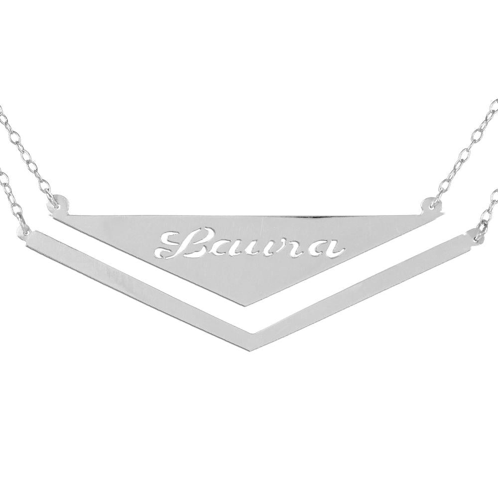 sterling silver frame triangle nameplate necklace