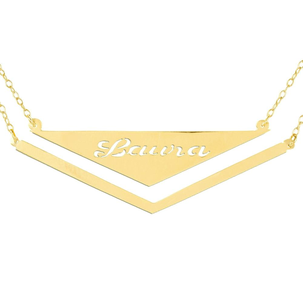 14K gold plated sterling silver-v-frame-triangle-nameplate