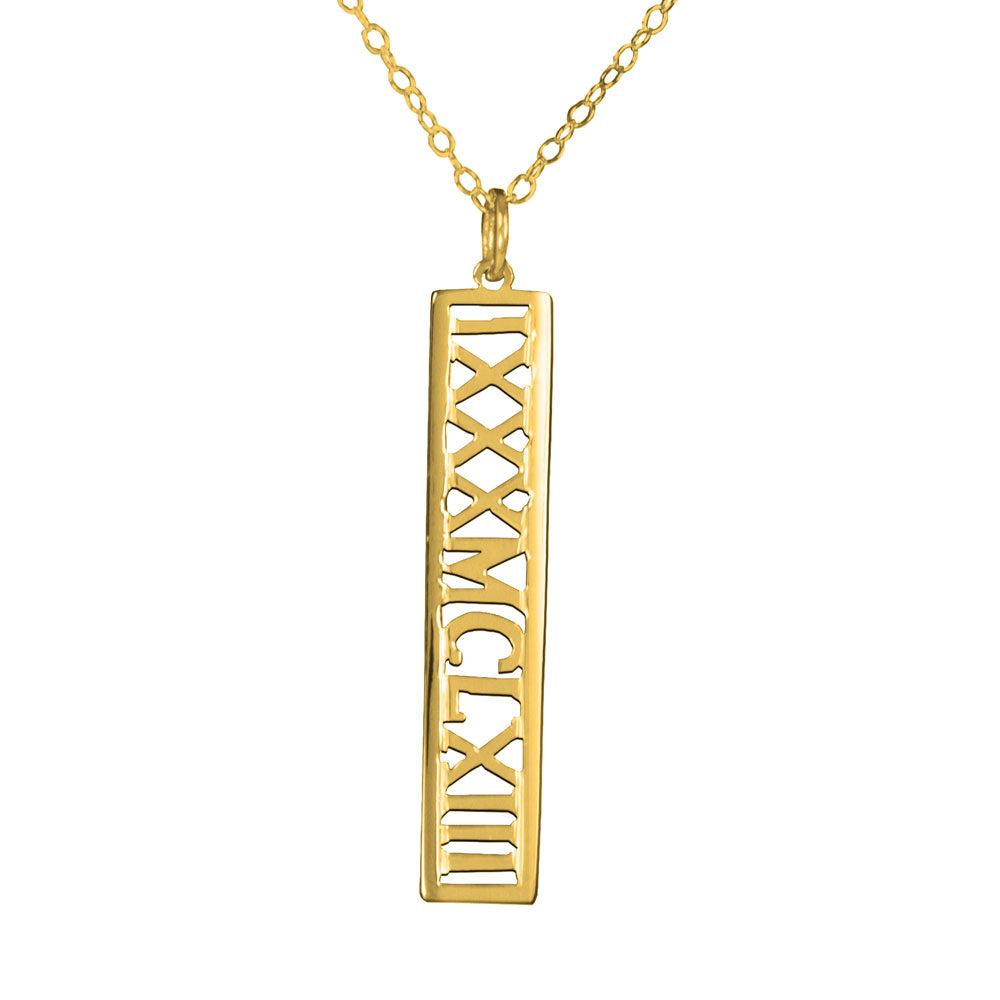 personalized 14K gold plated sterling silver roman numeral necklace
