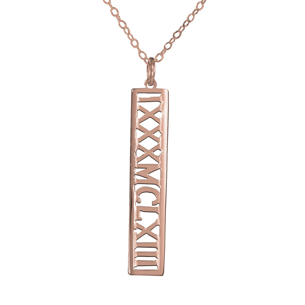 personalized 14K rose gold plated sterling silver roman numeral necklace