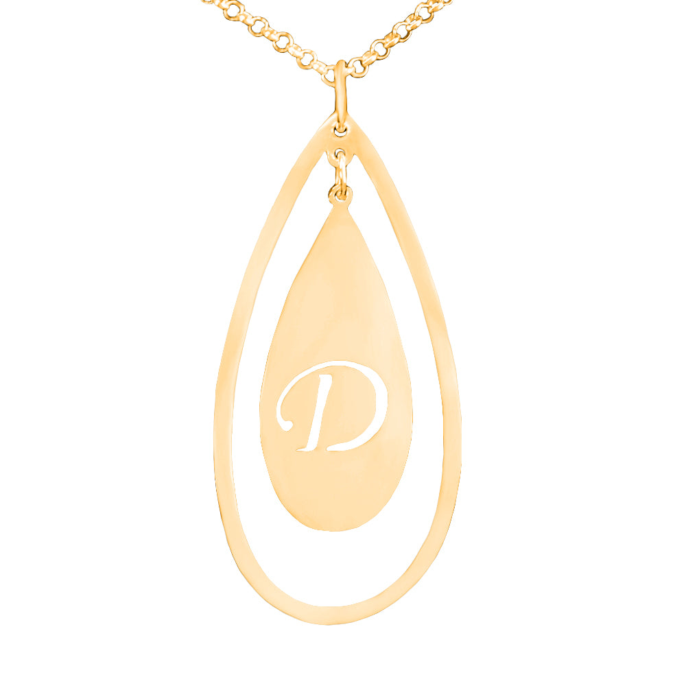 24K gold-plated sterling silver initial necklace