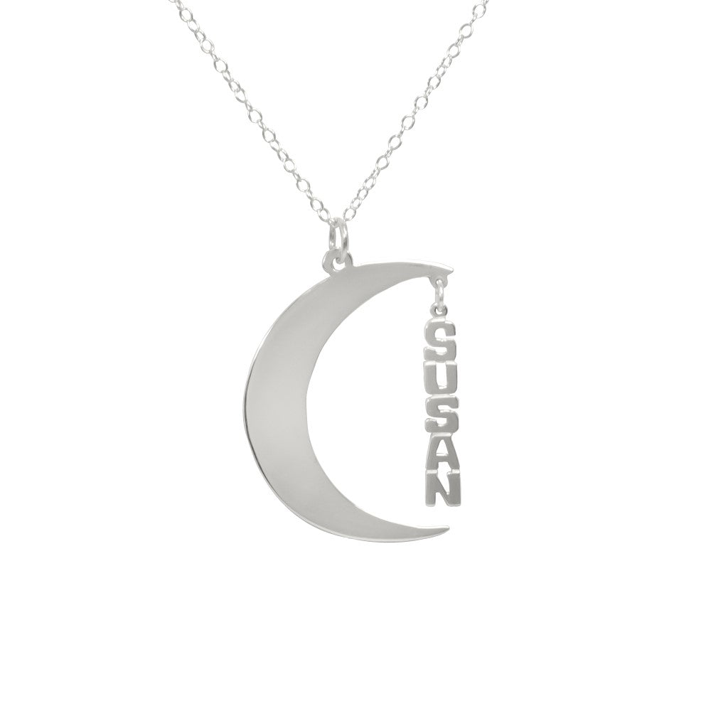 Crescent Moon Name Necklace