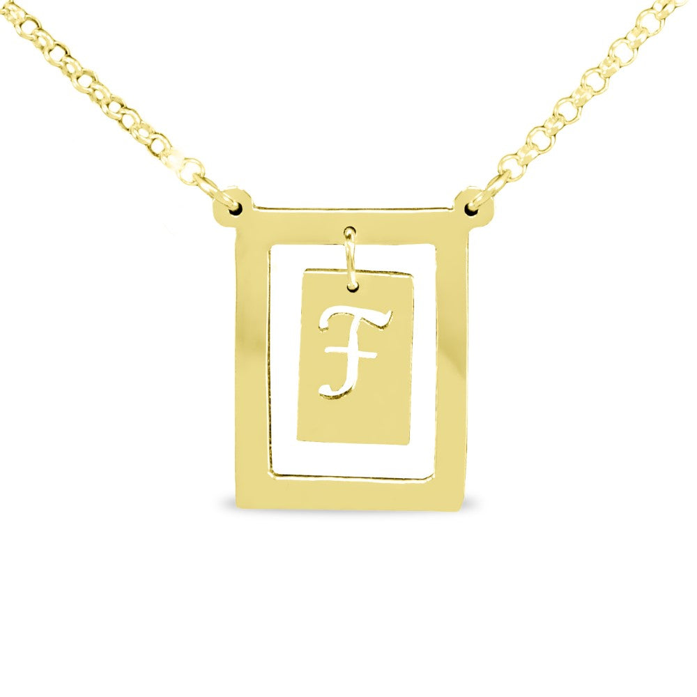14K gold plated sterling silver bar initial pendant necklace