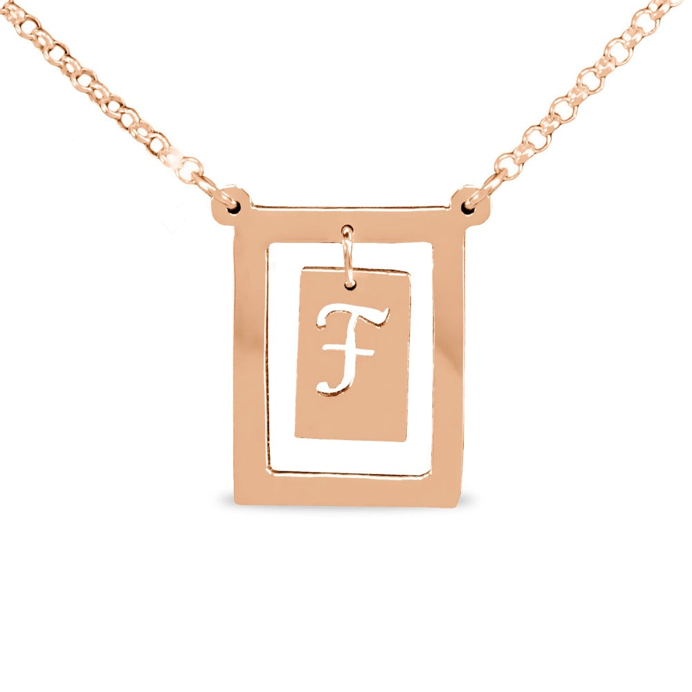 14K rose gold plated sterling silver bar initial pendant necklace