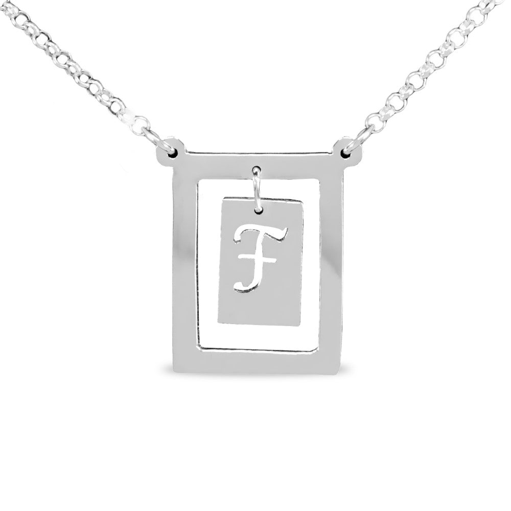 sterling silver bar initial pendant necklace