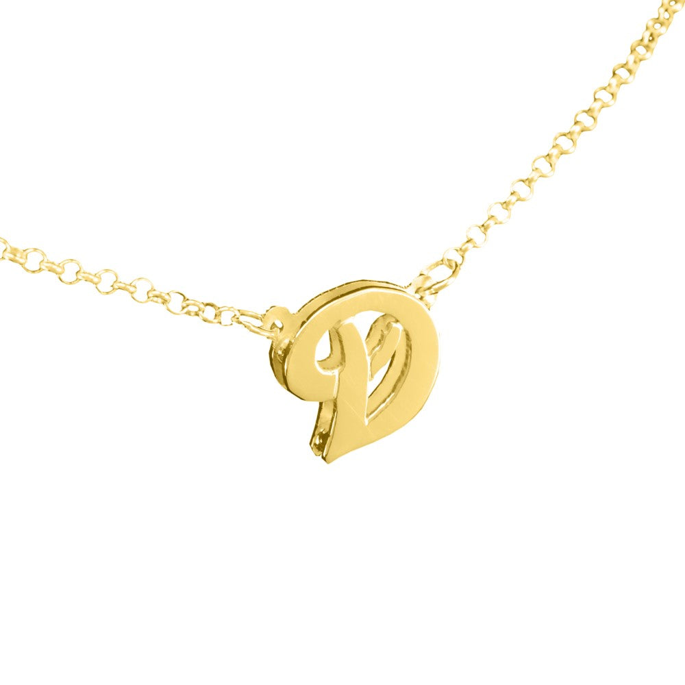 3D 14K gold plated sterling silver initial necklace