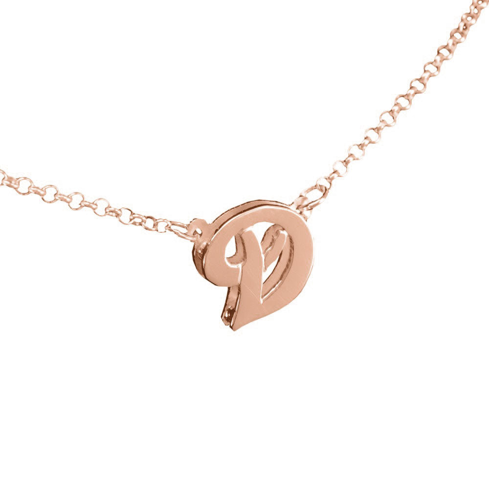 3D 14K rose gold plated sterling silver initial necklace