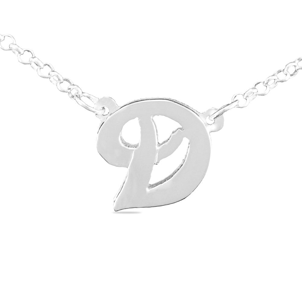 3D sterling silver initial necklace