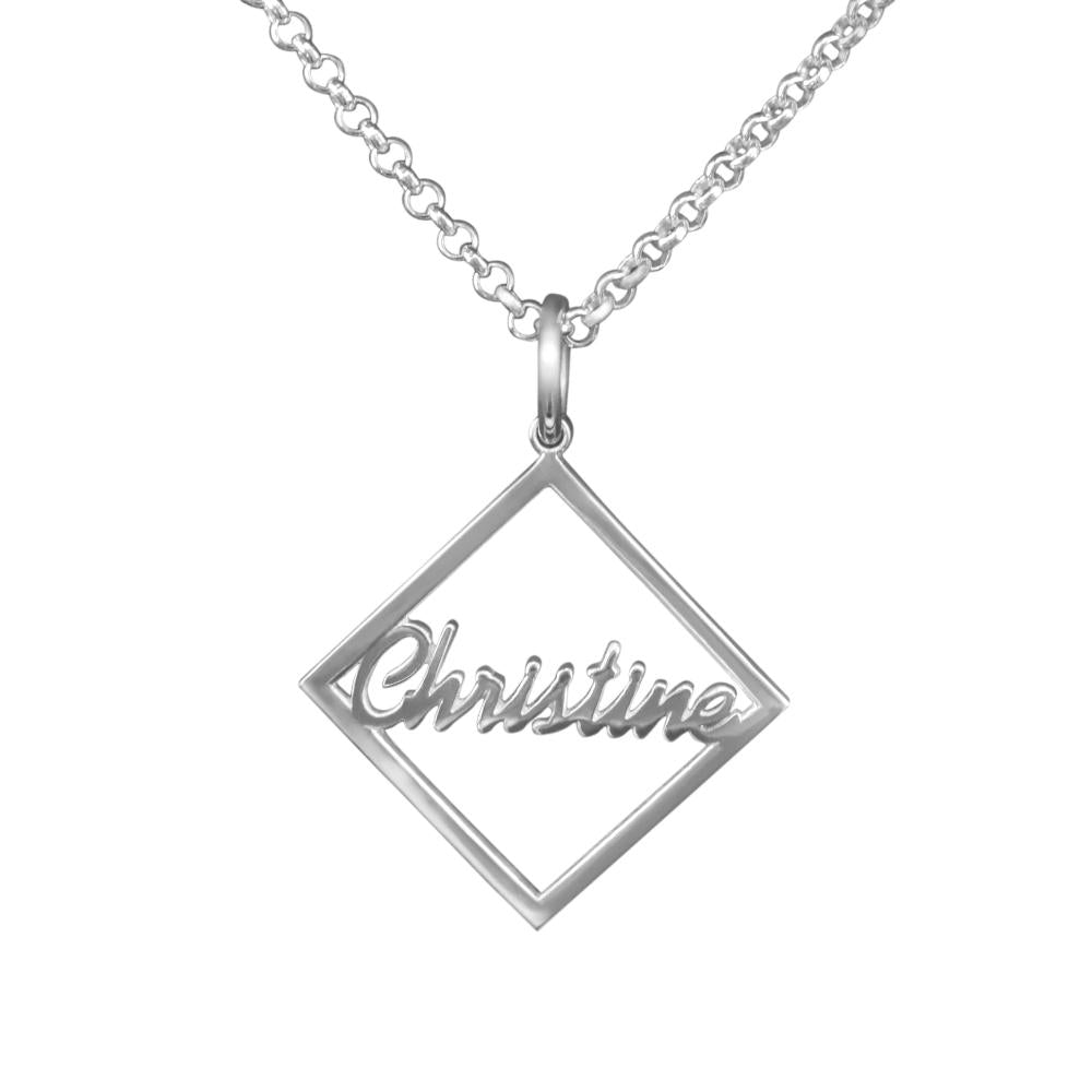 Cast Square Frame Pendant Name Necklace