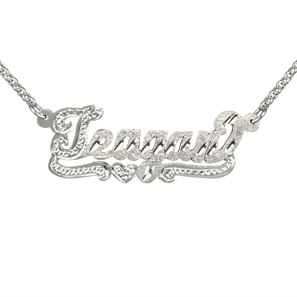 Script Diamond Cut Name Necklace with Beaded First Letter and Beaded Tail