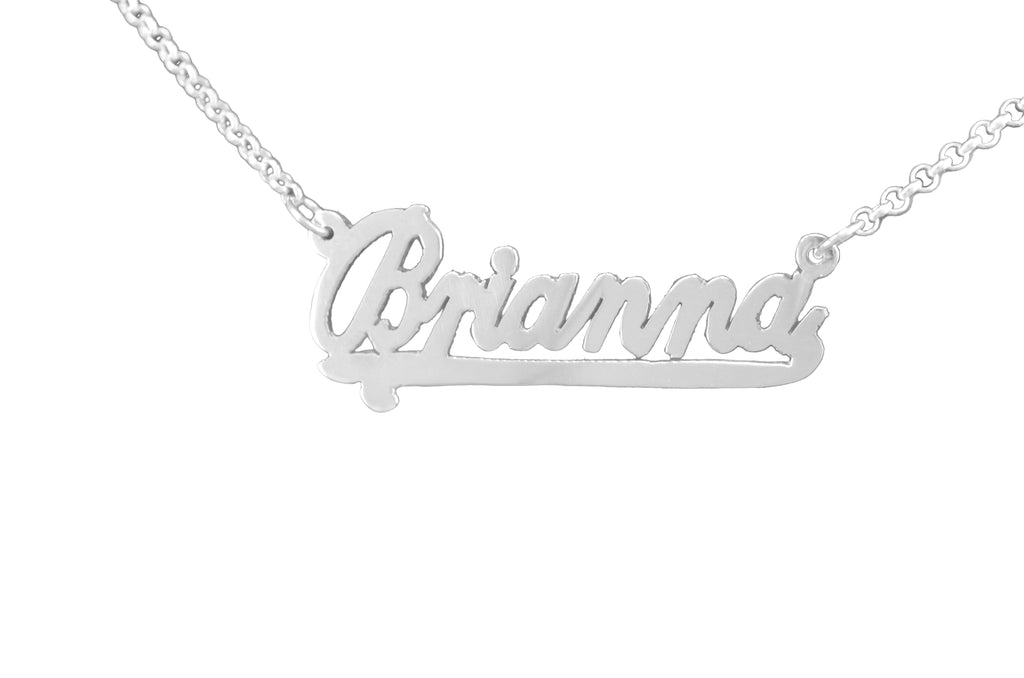 Sterling Silver Script Nameplate with Plain Tail