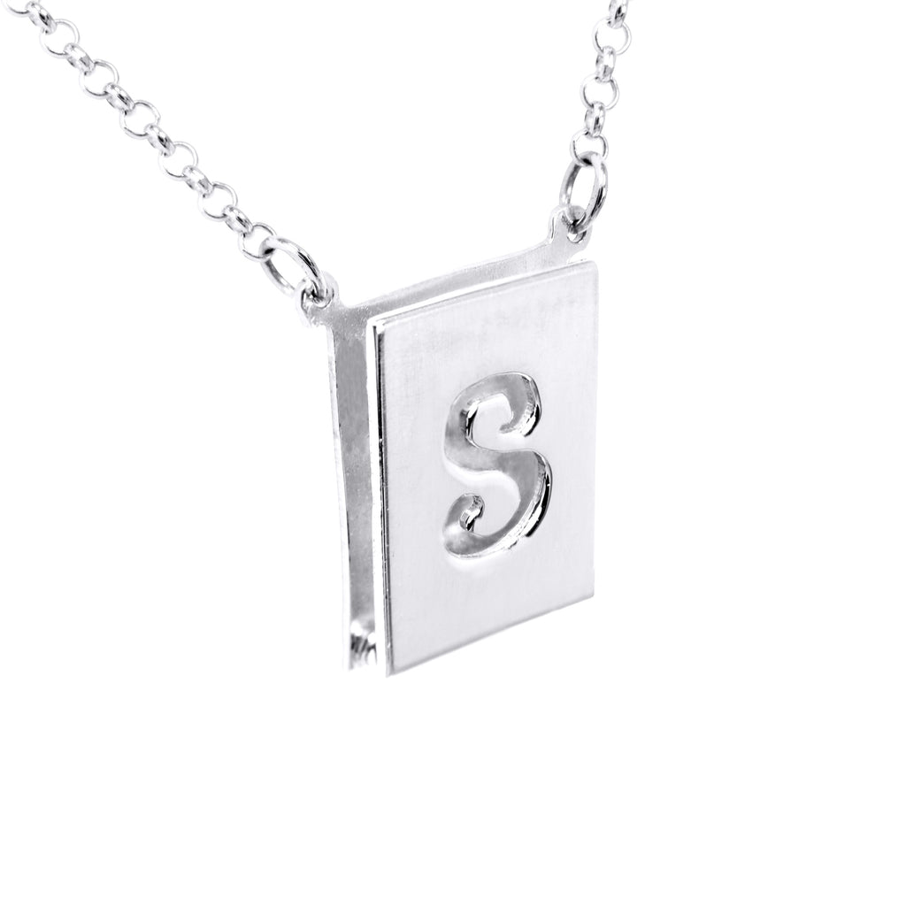 Double 3-D Cut out Initial Necklace