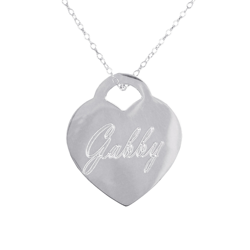 Engraved Name Heart Pendant Necklace