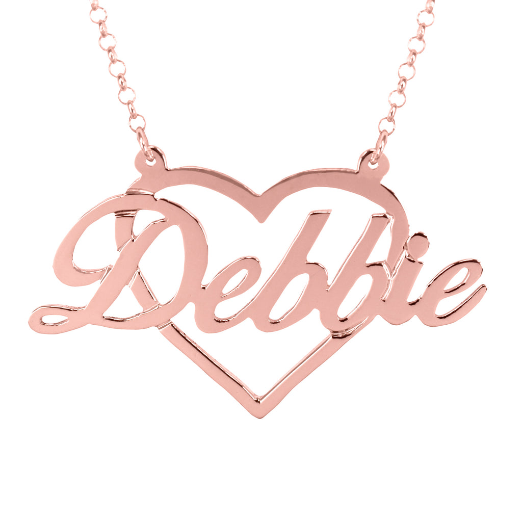 Script Name with Heart Frame Necklace