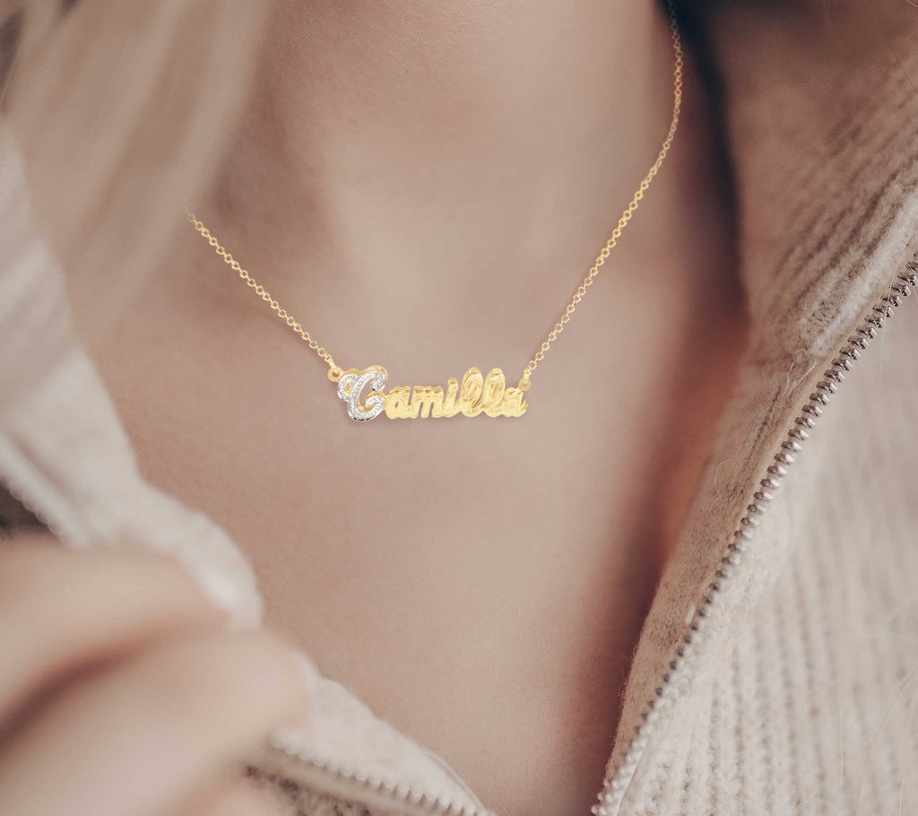 Glittering Script Double 3-D Nameplate Necklace